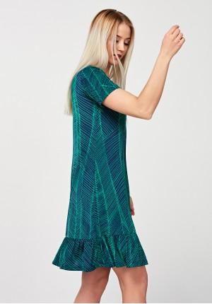 Trapezowa sukienka z falbanką