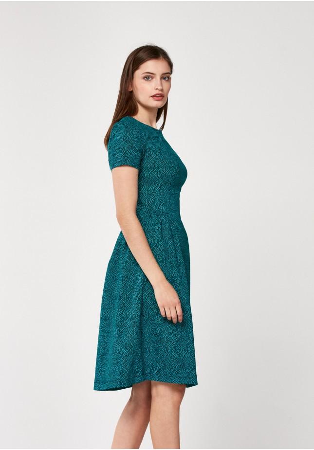 Morska rozkloszowana sukienka