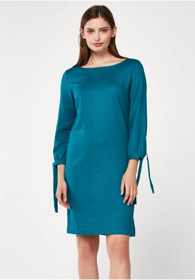 Prosta turkusowa sukienka