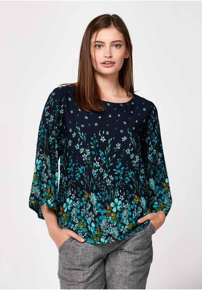 Bluzka 3060 (turkusowe kwiaty)