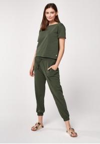 Green cotton pants