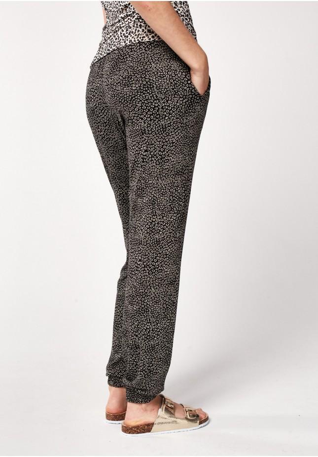 Black animal pattern pants