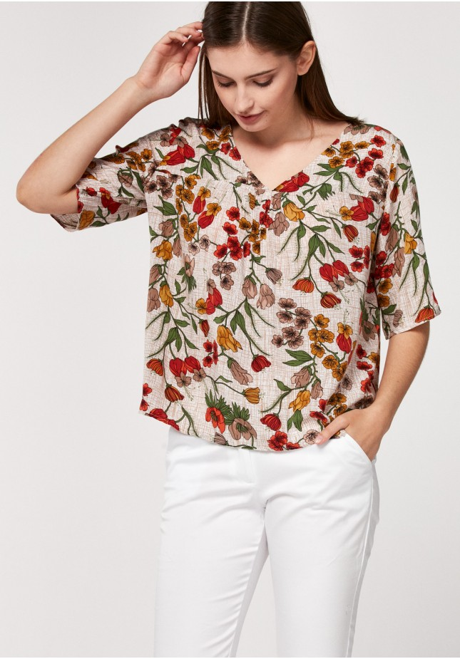 Beżowa bluzka w maki
