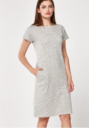Grey dress with animal print