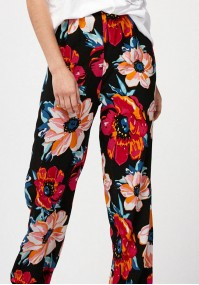 Trousers with multicolor flowers