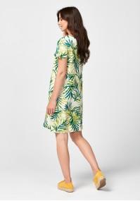 Prosta sukienka w zielone liście