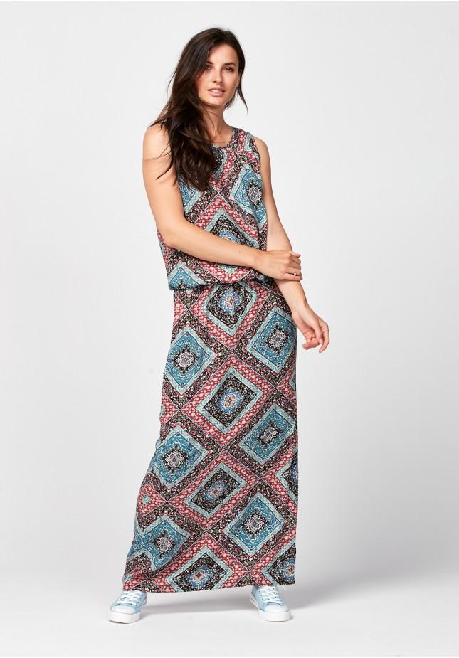Maxi sukienka w geometryczny wzór