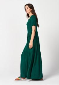 Długa ciemnozielona sukienka