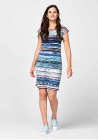 Fitted dress with stripes