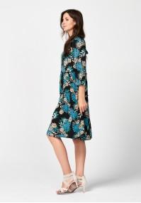 Sukienka w niebieski liście