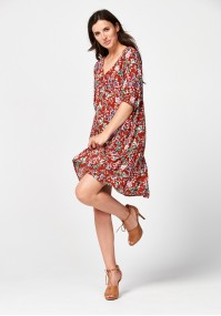 Brown dress with flowers