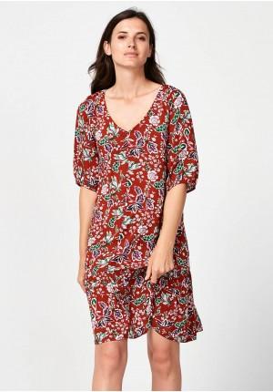 Brązowa sukienka z falbaną