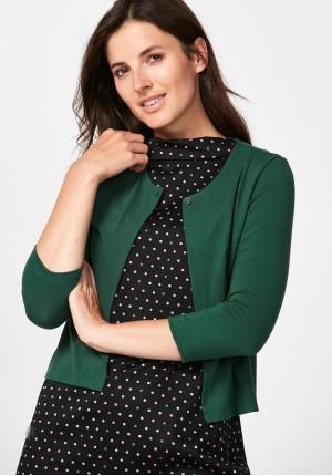 Ciemnozielony sweter z jednym guzikiem