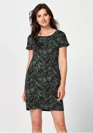 Prosta ciemnozielona sukienka