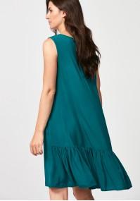 Ciemnozielona sukienka z falbaną