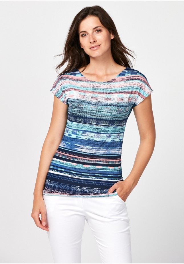 Fitted blouse with stripes