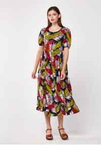 Midi dress with leaves