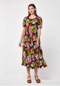 Midi sukienka w liście