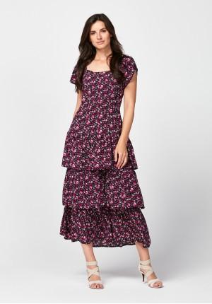 Midi sukienka z falbanami