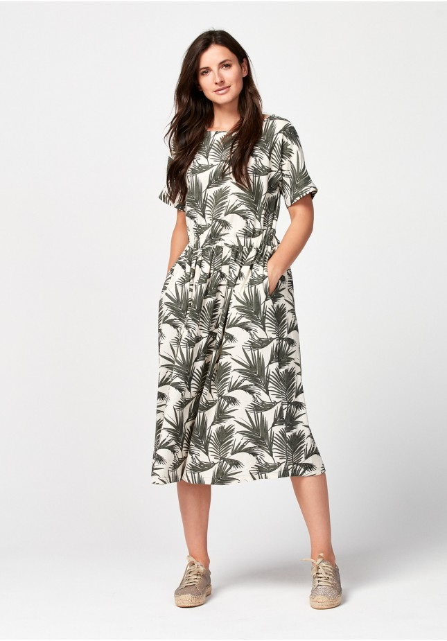 Midi beżowa sukienka