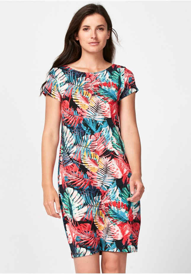 Simple dress with colorful leaves