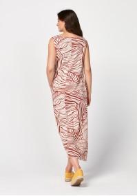 Długa sukienka z pomarańczowym wzorem