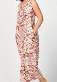 Long dress with orange print
