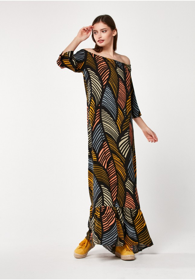 Kolorowa maxi sukienka