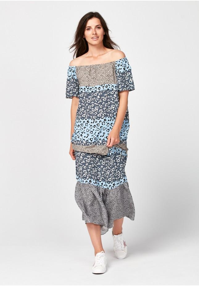 Maxi dress with animal print