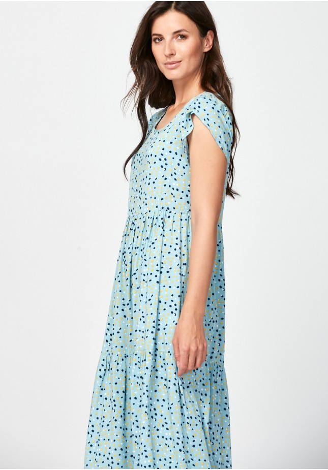 Blue dress with colorful spots