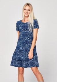 Niebieska sukienka w rozety