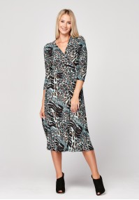 Midi dress with animal print
