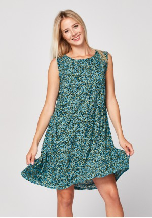 Blue dress with anima print