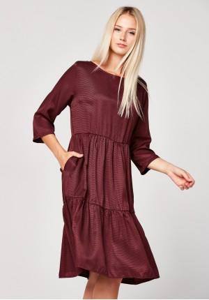 Trapezowa bordowa sukienka