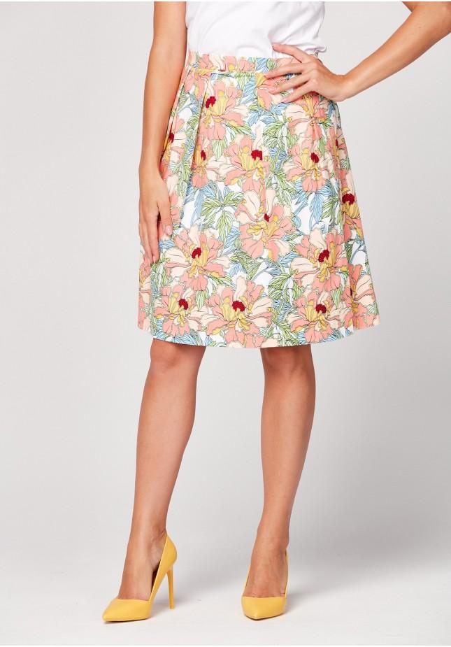 Pomarańczowa spódnica w kwiaty