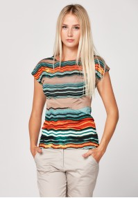 Fitted blouse with colorful stripes