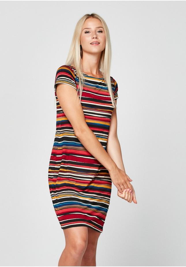 Prosta sukienka w kolorowe paski