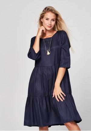 Trapezoidal navy blue dress