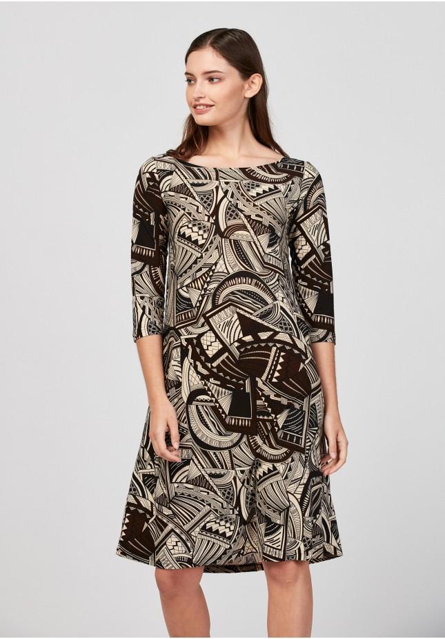 Dress with geometrical pattern