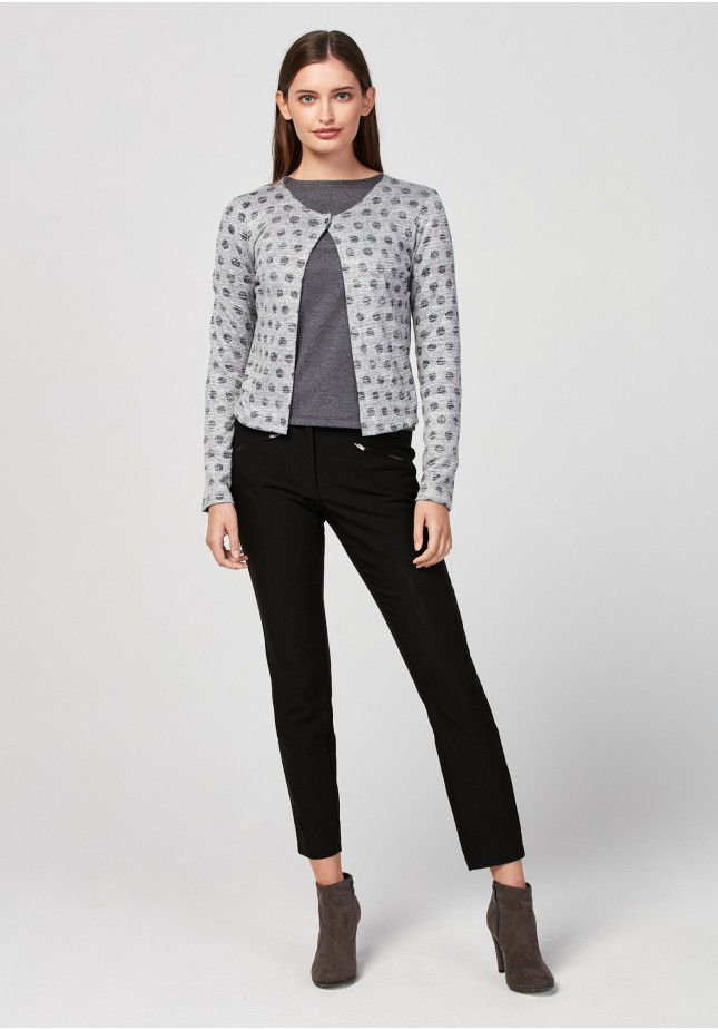 Grey sweater with one button