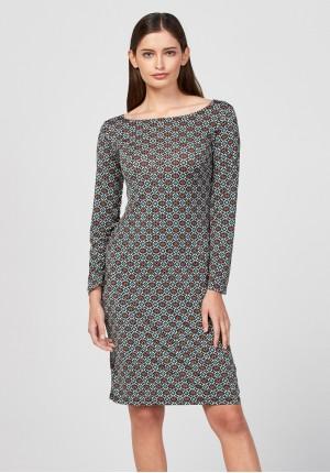 Prosta zielona sukienka w małe kwadraty