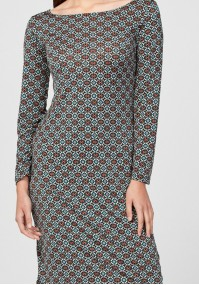 Simple green dress with small squares