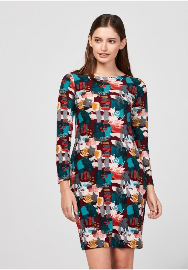 Dopasowana kolorowa sukienka