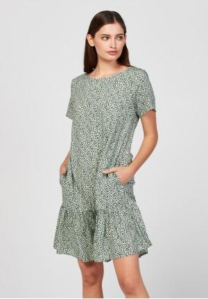 Zielona sukienka w panterkę