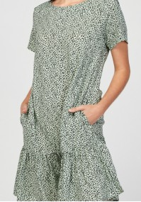 Green dress with animal print