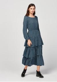 Midi dress with frills