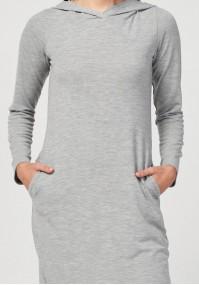 Midi dress with hood