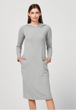 Midi sukienka z kapturem