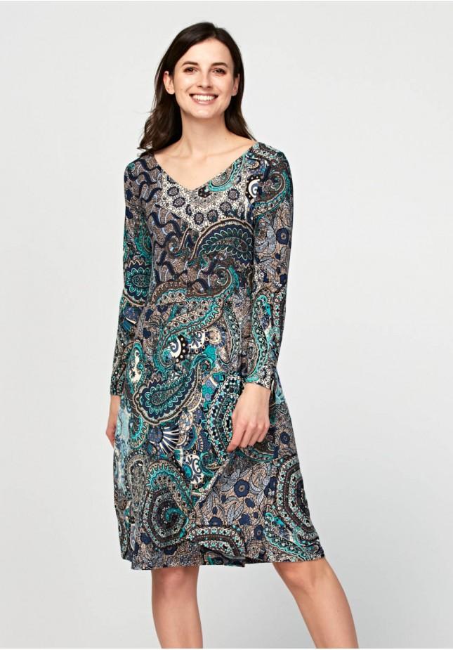 Dress with oriental pattern