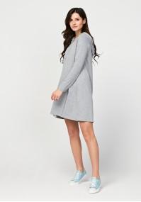 Szara sukienka z kapturem